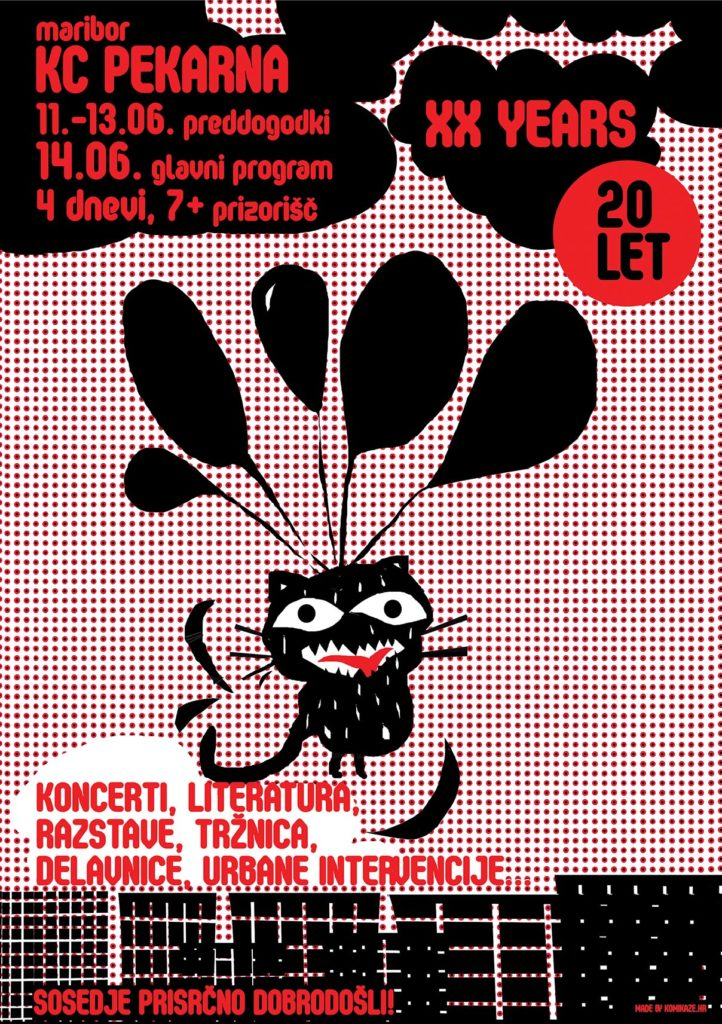 BLACK CAT - Poster and catalogue illustration (guider) for the 20th anniversary of the Pekarna, cult place in Maribor.