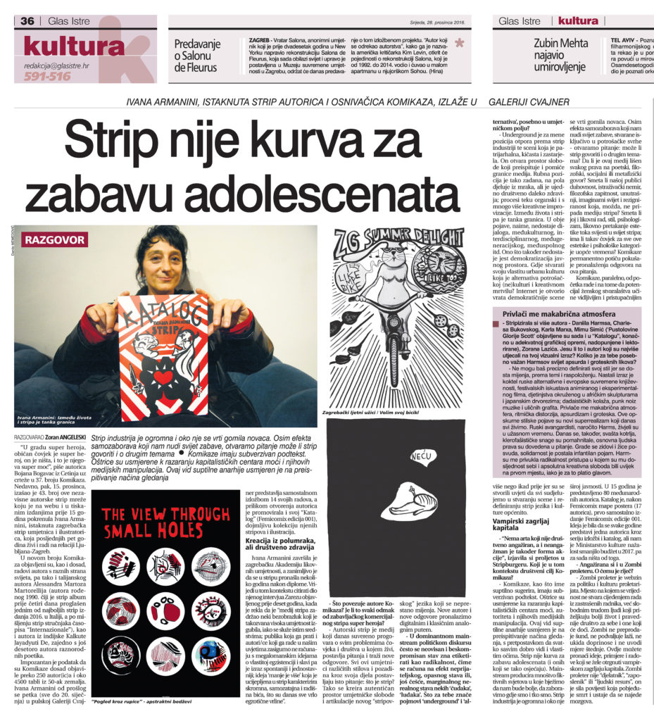 Comic is not a whore for entertainment of adolescents - The interview for the newspapers GLAS ISTRE and NOVI LIST by Zoran Angeleski, Cro.