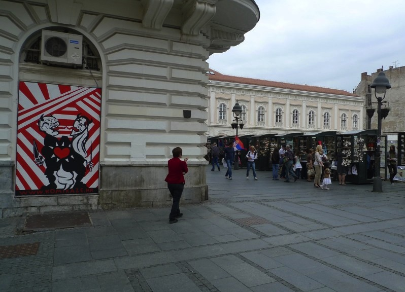 Mural by Ivana Armanini for the Festival of the Non-aligned Comics - NOVO DOBA, Belgrade, Serbia at Knez Mihajlova Street.