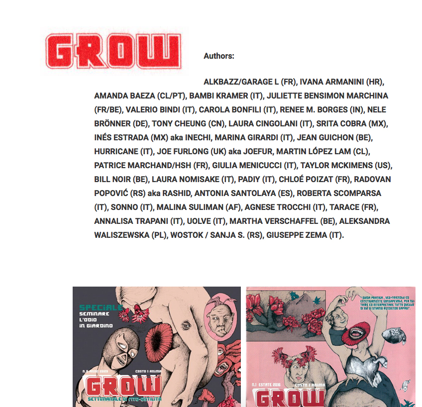 Comics and illustrations by Ivana Armanini at Grow zine 1 & 2 - Crack festival, Italy.