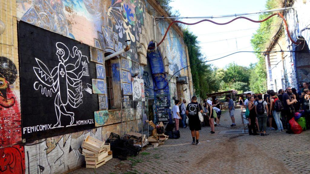 femicomix mural by ivana armanini at crack festival - forte prenestino, rome, italy