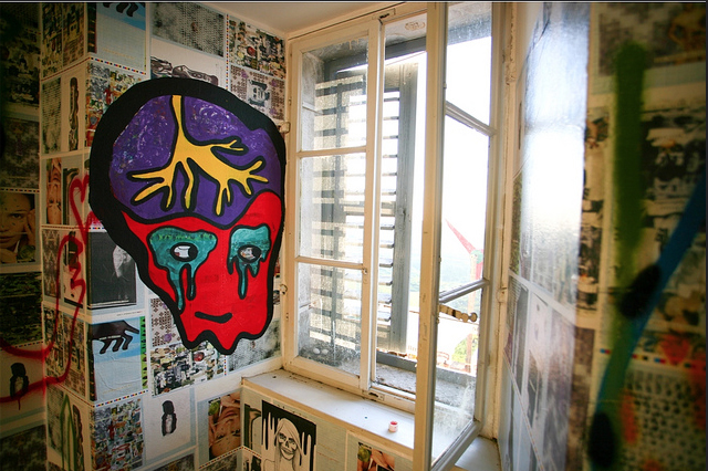 King's window is mural by Ivana Armanini made on workshop during the exhibition by Puma 34 Why so Serious? for Motovun Film Festival.