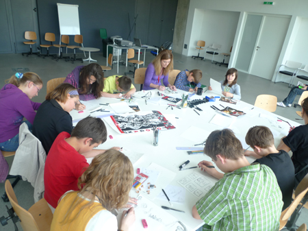 Comic workshop for children by Ivana Armanini for the project Toboggan - the wheel of the future at MOCA, ZG.